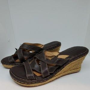 Born Brown Slip On Sandals - 8